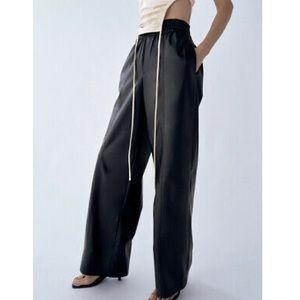 Zara Faux Leather Wide Leg Black Pants - XS